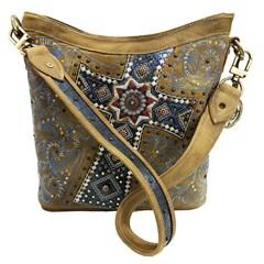 Bolsa Goyazes Dallas Ocre/Flex Metal Azul HB-183234-6