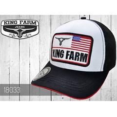 Boné King Farm Branco Preto Tela 18033 ... 24d20cd0d8f