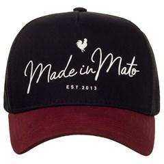 Boné Made In Mato Preto/Bordô/Tela B1572