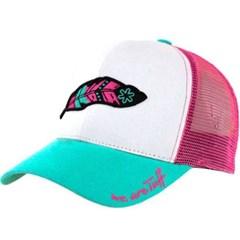 Boné Tuff Branco/Aba Turquesa/Tela Pink CAP-1222-SNAP