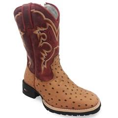 Bota Infantil Mr. West Boots Réplica Avestruz Conhaque/Fossil Vermelho B-102
