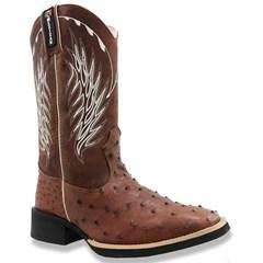 Bota Mexican Boots Avestruz Almondega/ Fossil Sella 82012