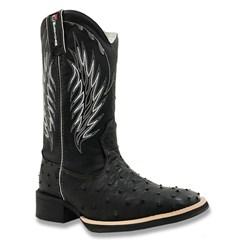 Bota Mexican Boots Avestruz Preto/Fossil Preto 82004