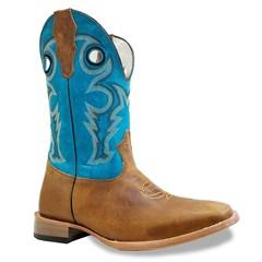 Bota Mexican Boots Fossil Mostarda/Azul Turquesa 89410