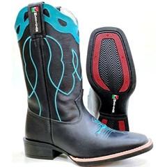 Bota Mexican Boots Fossil Preto/ Fossil Preto/ Turquesa 91168