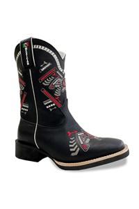 Bota Mexican Boots Fossil Preto/ Fossil Preto/Vermelho 89329