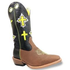 Bota Mexican Boots Mad Dog Tab/Preto/Verde Neon Carrapeta 86354