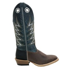 Bota Mexican Boots Pull Up Brown/ Fossil Azul/ Carrapeta 83156
