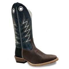 Bota Mexican Boots Pull Up Brown/ Fossil Azul/ Carrapeta 83156