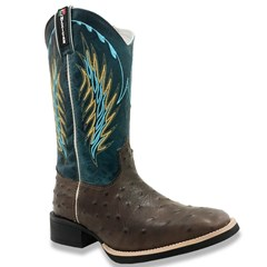 Bota Mexican Boots Réplica Avestruz Café/Fossil Azul 82010