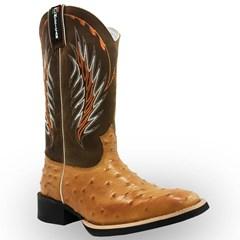 Bota Mexican Boots Réplica Avestruz Conhaque/Mad Dog Tabaco 82008