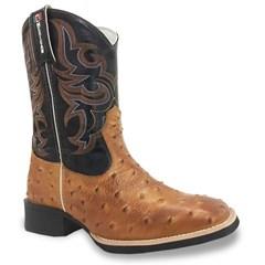 Bota Mexican Boots Réplica Avestruz Conhaque/ Preto 82641