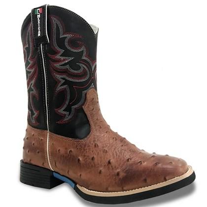Bota Mexican Boots Réplica Avestruz Pinhão/ Fossil Preto 83157