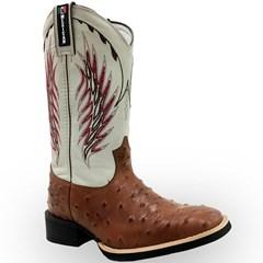 Bota Mexican Boots Réplica Avestruz Pinhão/Marfim 82003