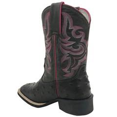 Bota Mexican Boots Réplica Avestruz Preto/Fossil Cinza/Rosa 83154