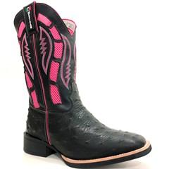 Bota Mexican Boots Réplica Avestruz Preto/Fossil Preto/Pink 87273