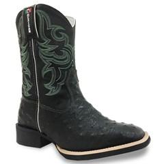 Bota Mexican Boots Réplica Avestruz Preto/ Fossil Preto/ Verde 82643