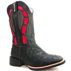 Bota Mexican Boots Réplica Avestruz Preto/Fossil Preto/Vermelho 87274