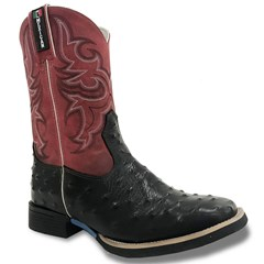 Bota Mexican Boots Réplica Avestruz Preto/ Fossil Vermelho 83159