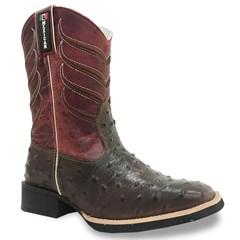 Bota Mexican Boots Réplica Avestruz Tab/ Fossil Vermelho 82642