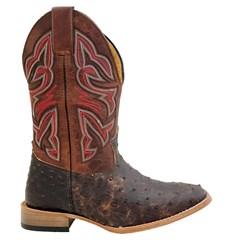 Bota Mr. West Boots Avestruz Conhaque Craquele/Fossil Sella 89591