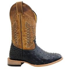 Bota Mr. West Boots Avestruz Preto/Fossil Mostarda 89590