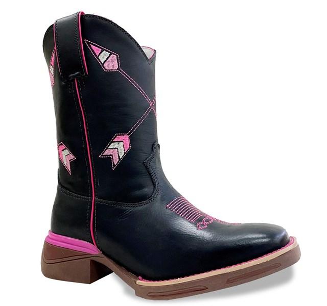 Bota Mr. West Boots Fossil Preto/Fossil Preto/Pink