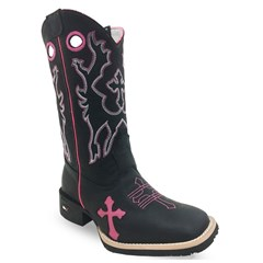 Bota Mr. West Boots Fossil Preto/ Pink 69363 B-77 CRUZ PK