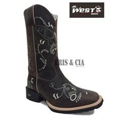 Bota Mr. West Boots Fossil Tabaco Bordado Branco B-36 Borboleta