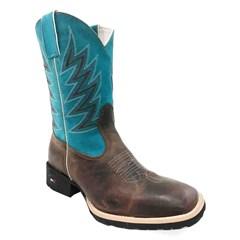 Bota Mr. West Boots Fossil Tabaco/Nobuck Azul Turquesa 81407