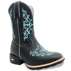 Bota Mr. West Boots Infantil Fossil Preto/Fossil Preto/Azul Bebê 87187