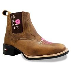 Botina Mr. West Boots Fossil Mostarda/Pink 89314