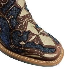 Botina Tucson Camel/Glitter Azul/Bordado T4002