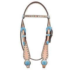 Cabeçada Pyramid Testeira com Margaridas e Strass Azul 34166