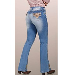 Calça Bill Way Flare Feminina Bordado 941