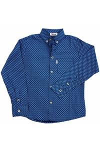 Camisa Apache Infantil Floral Azul Marinho/Azul AP-INF-03