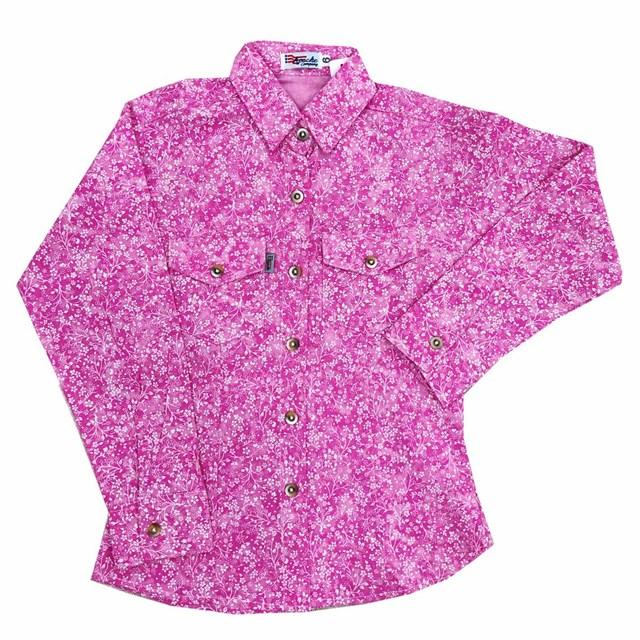 Camisa Apache Infantil Floral Rosa/Branco AP-INF-04