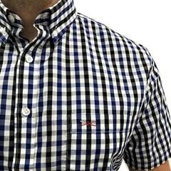 Camisa Jacomo Xadrez Azul Marinho/Branco/Preto CM-10
