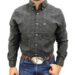 Camisa Mexican Shirts Floral Preto/ Azul 0061-06-MXS