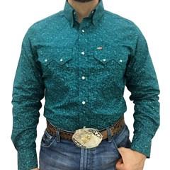 Camisa Mexican Shirts Floral Verde/Verde Àgua 0062-01-MXS