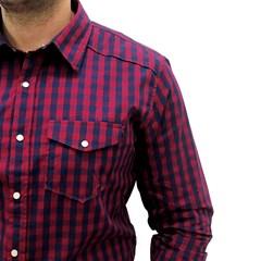 Camisa Never Give Up Xadrez Vermelho/Azul Marinho NGU-CAMISA01