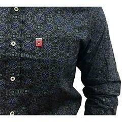 Camisa Os Vaqueiros Floral Preto/Roxo/Chumbo 7003