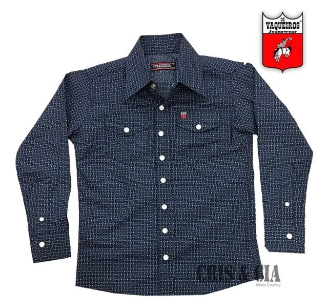 Camisa Os Vaqueiros Infantil Azul Marinho Estampa 7015