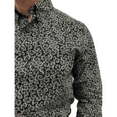 Camisa Os Vaqueiros Preto/Amarelo Claro Floral 7016