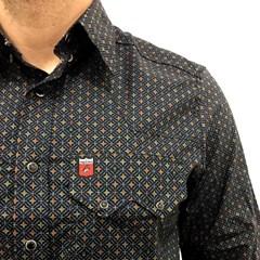 ... Camisa Os Vaqueiros Preto Azul Verde Vermelho Floral 7016 d2055e94698