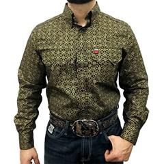 Camisa Os Vaqueiros Preto/Dourado Floral 7016