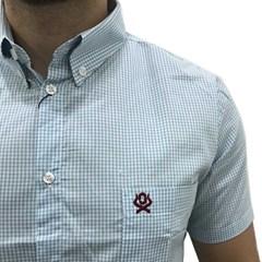 Camisa Ox Horns Xadrez Azul Claro/Branco 9055