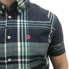 Camisa Ox Horns Xadrez Azul Marinho/Verde 9060