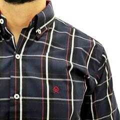 Camisa Ox Horns Xadrez Azul Marinho/Vermelho/Branco 9042