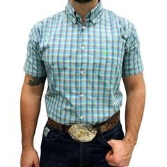 Camisa Ox Horns Xadrez Azul/Verde Claro 9059